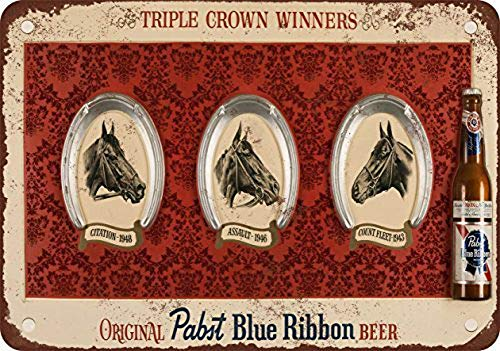 Generic Brands Triple Corona Hor Racing Ganadores Pabst Cerveza Lata Placa Vintage Retro Pintura de hierro Aviso de advertencia retro Póster Café Bar Película Regalo baño Garaje