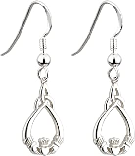 Failte Claddagh Earrings Trinity Knot Sterling Silver Dangle Earrings Irish Made