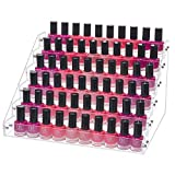 Benbilry Acrylic Nail Polish Organizer 6 Tier Clear Nail Polish Holder 66 Bottles Essential Oils Organizer Shelves Display Rack Stand(6 Tiers)