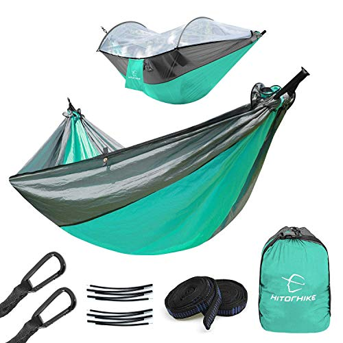Hitorhike Camping Hammock with Mosquito Net Included Detachable Aluminum Support Poles Tree Straps and Steel Carabiners for Backpacking, Camping, Travel, Beach, Backyard Hammock(Marrs Green with Gray)