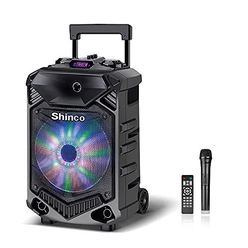 Shinco Potente Altavoz Bluetooth Portátiles USB DJ Light Altavoces Woofer de 12 pulgadas Altavoz portátil de Karaoke con micrófono inalámbrico