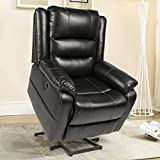 Esright Power Lift Chair Faux Leather Electric Recliner for Elderly, Heated Vibration Massage Sofa with Side Pockets, USB Charge Port & Remote Control, Black