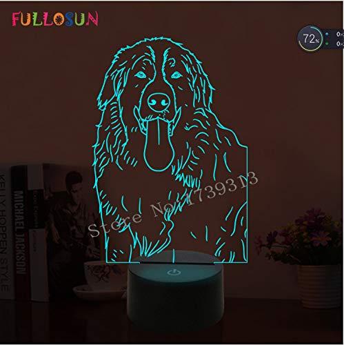 Lampe de table de bureau décorative pour chien de compagnie d'animal de compagnie 3D Retriever Golden Illuminateur Led
