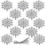 ZHOUZHOU Copo de Nieve Decoración,12 Adorno de Copo de Nieve de plástico,Copos de Nieve Brillantes,Decoración de Colgantes de Copo Árbol de Navidad de Navidad Boda Fiestas Adornos Festivo (Plateado)