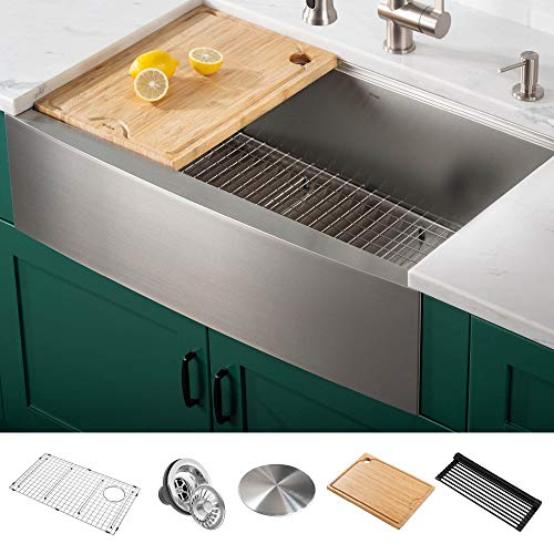 Kraus KWF210-33 Kore Workstation 16 Gauge Farmhouse Single Bowl Stainless Steel Kitchen Sink with Integrated Ledge and Accessories (Pack of 5), 33 Inch Rounded Apron Front