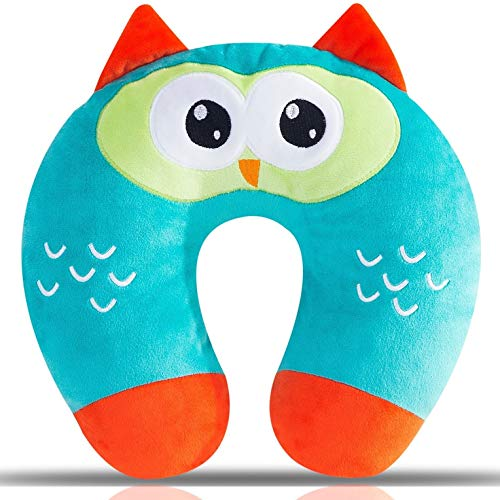 Kids Travel Pillow, Ultra Soft Kids Neck Pillow, Cute Airplane Pillow for Babies, Toddlers & Kids Neck Support on Airplane, Bus, Train, U-shaped Animal Travel Pillow with 3D Embroidery, Smart Owl
