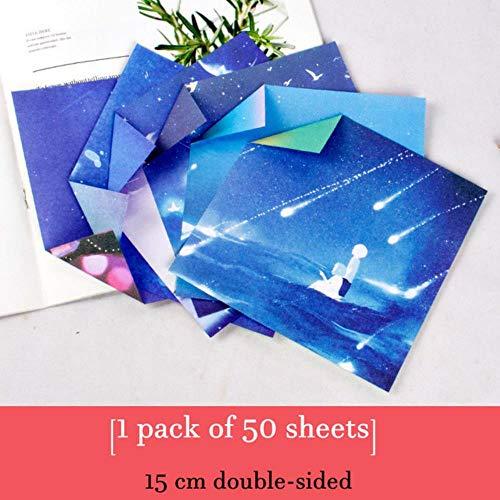 50 stuks Galaxy origami papier vierkant plakboekpapier dubbelzijdig afdrukken Kraft Cardstock geschenkverpakkingsmaterialen 150 mm * 150 mm, 8