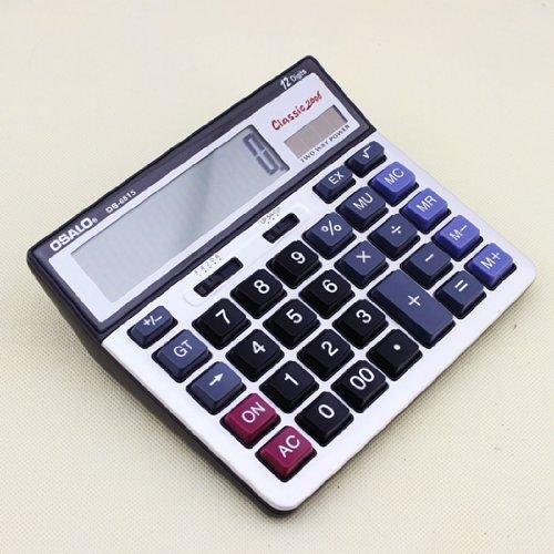 F¨¢cil llevar Gullor OS-6815 de potencia de dos v¨ªas de la calculadora electr¨®nica solar con placa frontal de metal y pantalla extra grande (Ordenadores educativos)