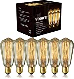 Edison Light Bulbs - Woowtt 6 Pack Classic Antique Bulb Style - Amber Warm - Dimmable - ST64 60W