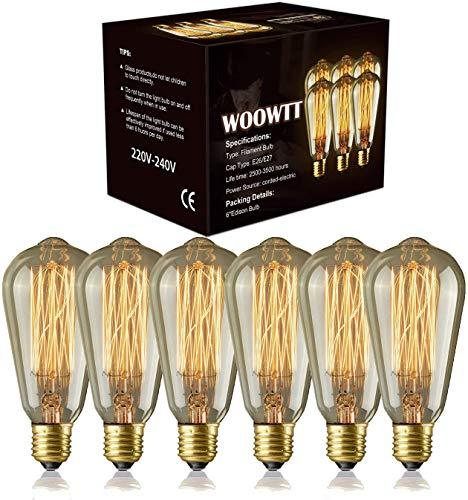 Edison Light Bulbs - Woowtt 6 Pack Classic Antique Bulb Style - Amber Warm...