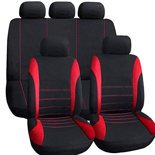 KKmoon Fundas de asientos de automóvil clásicas con accesorios interiores para automóviles delanteros y traseros completos con cubierta para reposacabezas (Diseño universal) Conjunto de 9 Rojo