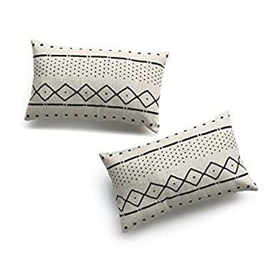 Hofdeco Decorative Lumbar Pillow Cover HEAVY WEIGHT Cotton Linen African Mud Cloth Ethnic Natural Dots and Line 12 x20  30cm x 50cm Set of 2