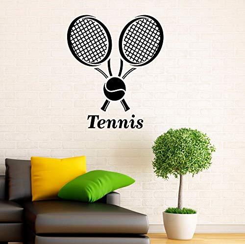 AGjDF Tennis Club Logo Wandtattoo Turnhalle Sport Innendekoration Tennis Vinyl Wandtattoo abnehmbare Tennisschläger Aufkleber -42x49cm