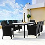 Harrier Rattan Garden Table Set – Garden Table & Chairs | Dining Table & Chairs Set 6 & 8 Seater Options | Indoor Outdoor Grey Conservatory, Garden And Patio Furniture (8 Seats)