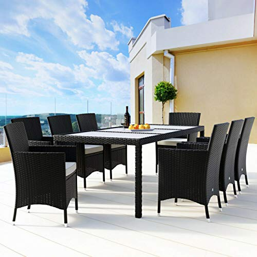 Harrier Rattan Garden Table And Chairs | Dining Table & Chairs Set | Luxury 6 & 8 Seater Options | Indoor Outdoor Grey Conservatory, Garden And Patio Furniture (6 Seats)