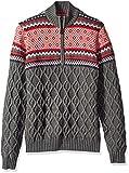 IZOD Men's Fairisle Quarter Zip 5 Gauge Sweater, Legacy Carbon Heather, X-Large