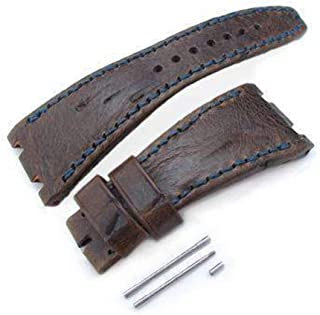 Cinturino per orologio in pelle marrone con motivo a graffi modello graffio, filo di cera blu scuro, fatto su misura per A...