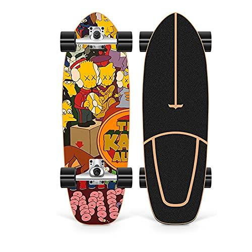 XKAI Surf Skate Skateboard CX4 Tabla Completa para Adolescentes Deck 75×23cm Fancy Board Pumping Longboard Madera de Arce Monopatin para Adultos Principiantes, Rodamientos ABEC-11