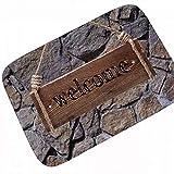 N/A Insegna Rustica di Benvenuto in Legno con Corda Zerbino per Corridoio Zerbino Moderno per Porta A Muro in Roccia Tappeto per Ingresso A Pavimento Tappeto per La Casa allo Sporco Marrone Nero