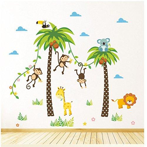 Glückliche Affen, Palmen, Tiere. Baum verlässt bunte Wandaufkleber. Fototapete Art Deco. Kinderzimmer Dekoration. Babyzimmer Aufkleber. Jungen und Mädchen Wandaufkleber.