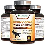 Horny Goat Weed Extra Strength 1560mg for Men and Women, Supports Natural Desire, Stamina and Strength with Maca, L-Arginine, Saw Palmetto and Tongkat Ali, Made in USA, Best Energy - 180 Capsules