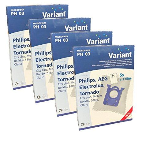 20 Staubsaugerbeutel Variant PH03 kompatibel mit Swirl PH86 geeignet für Philips FC8370/09 Performer Compact