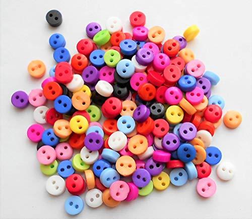 カラフルボタン 約5mm 100個 極小 小さめ ハンドメイド材料 デコ材料 ドール用 人形用