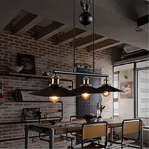 Auoeer Colgante iluminación araña Techo luz Colgante Accesorio Loft Industrial Retro con polea y Peso Bola Negro horneado Terminado Forjado Hierro labrado 3 Cabezas diseño de elevación e27