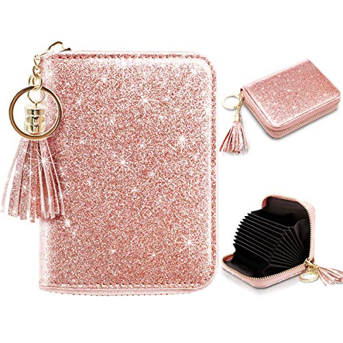 Women's Small Credit Card Wallet RFID Glitter Bling Cute Accordion Card Holder with Zipper Pink