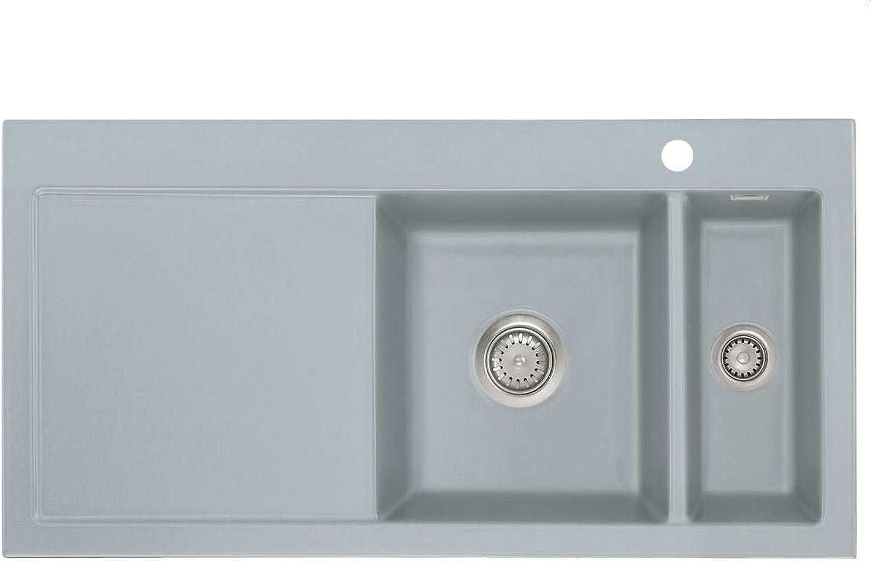 Systemceram Mera 100 Titan Keramik-Spüle Handbettigung Grau matt Einbaubecken