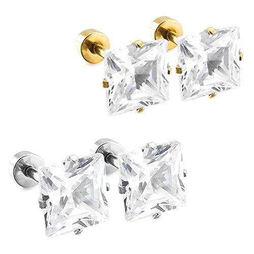 MunkiMix 7mm Acero Inoxidable Semental Pendientes Cz Cubic Zirconia Circonita Plata Oro Dorado Dos Tono (2 Coppiaes) Hombre,Mujer