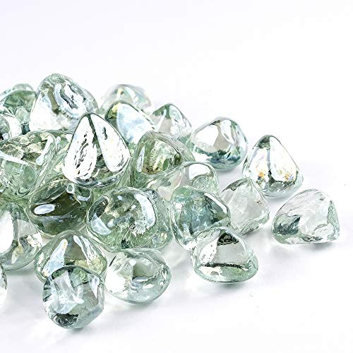 Chilli Cosmos Fire Glass Diamond 1 Inch Fire Pit Glass Rocks for Propane or Gas Fire Pit (20 Pounds Crystal White) Gift Package
