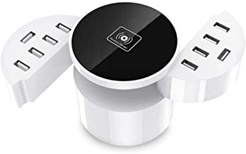 Gorilla Gadgets Wireless Charging Station for Multiple Devices 11-in-1 LCD Display Fast Charging Dock Organizer with 2 Type C Ports, 10 USB Ports and Qi Wireless Charging Pad Compatible