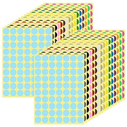 32 Sheets 2240PCS 19mm Etichette Adesive Rotonde, Bollini Adesivi Colorati, 16 Colori Colori Autoadesive Bollini Dot Adesivi, Colorate Etichette Codifica, per Ufficio Scuola Calendari Adesivi Mapp