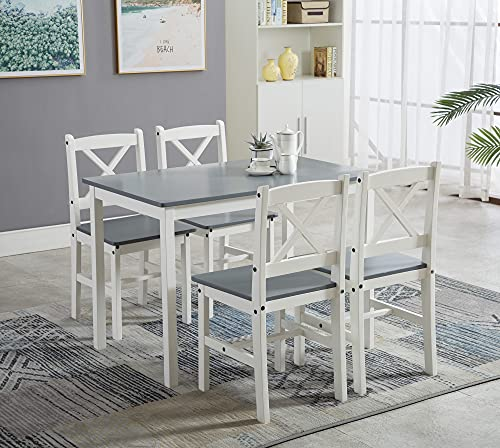 Classic Solid Wooden Dining Table and 4 Chairs Set Kitchen Home [Grey/White/natural] (Gray)