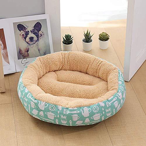 CWCD Beige/Blanco + Fresa de Fresa Suministros para Mascotas Kennel Cat Litter Pequeño Perro Medio Menor Pista Pista de Perro 50 * 50 * 14 cm Hamaca de cuna