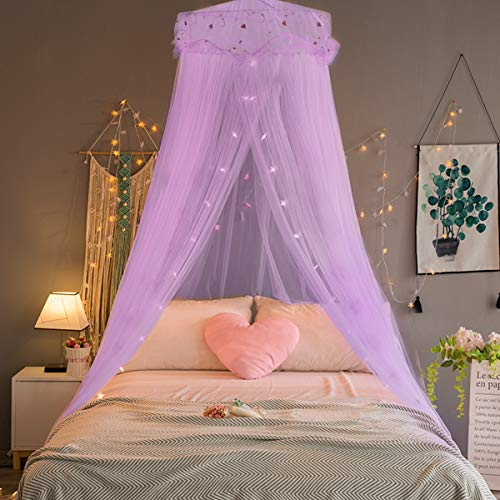 Jeteven Girl Bed Canopy Lace Mosquito Net for Girls Bed, Princess Play Tent Reading Nook Round Lace Dome Curtains Baby Kids Games House (Purple)
