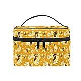 HaJie - Bolsa de maquillaje de gran capacidad, organizador de flores y abejas de margaritas para viajes, portátil, neceser de almacenamiento, bolsa de lavado para mujeres y niñas