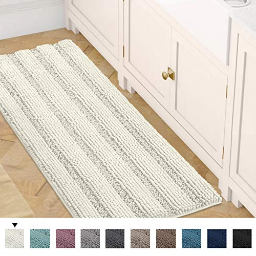 Bath Rug Runner 47' x 17' Bathroom Rug Bath Mat Non-Slip Striped Luxury Chenille Large Bathroom Rug Mat Extra Soft and Absorbent Shaggy Rugs for Indoor Floor Machine Washable, Ivory