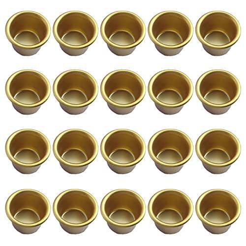 Kerzeneinsatz aus Metall für Stabkerzen Deko Kerzenständer Mini Kerzenhalter DIY Kerzenständer Kerzenhalter Gold Set für Baumkerzen,Pyramidenkerzen Tafelkerzen und Teelichter,Teelichthalter 20 Stück