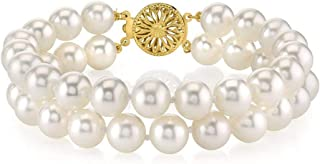 14K Gold 8-9mm AAA Quality Round White Double Freshwater Cultured Pearl Bracelet for Women