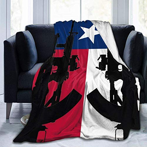 W-wishes Flag of Texas with Guns Throw Flannel Fleece Blanket,Soft Warm Fluffy Plush Blanket For Bed Couch Chair Living Room,50'x60'