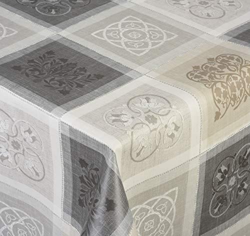Venilia Jacquard Gris Linge de Table Nappe Anti Tache, Imperméable, Coton, Polyester, PVC, carré, x 155 cm, 55111, 155 x 155 cm