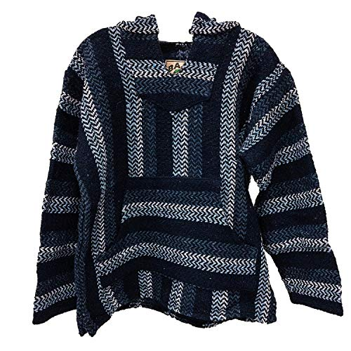 Baja Joe Eco-Friendly Woven Striped Pullover Baja Hoodie Navy Medium