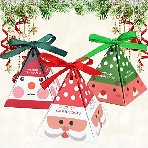 Camelize Weihnachten Geschenkbox,24 Stück Klein Geschenkschachtel Schachte Schmuck/Süßigkeiten/Plätzchen/Kekse box mit Bänder Hängeetiketten für Weihnachten Geschenk deko