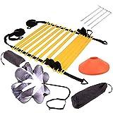 CHHD Speed Agility Set, Incluye Escalera de Agilidad, Discos de Marca, paracaídas de Resistencia, Clavijas de Metal y Bolsa de Transporte para Ejercicios de fútbol para Adolescentes