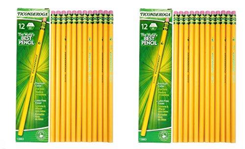 Dixon Ticonderoga Woodcase Pencil, H #3, Yellow Barrel - 24 Count (13883)