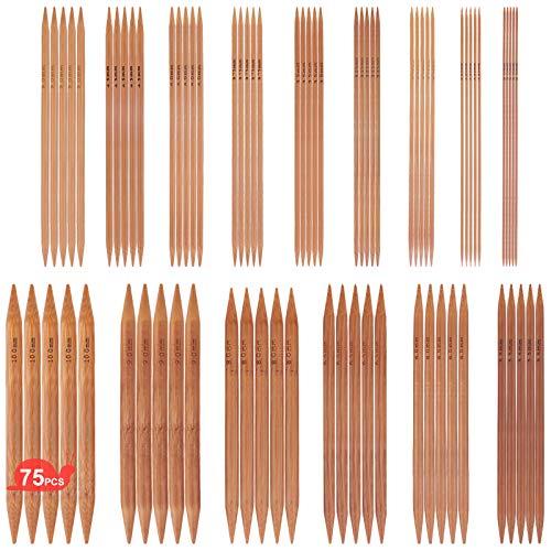 ARPDJK 75 Stück Bambus Stricknadeln Set, 15 Größen von 2 mm - 10 mm Doppelspitz Stricknadel, 15 cm Lange Stricknadeln für Anfänger und Profis, für Socken Handschuhe und Schals
