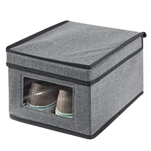 mDesign Caja de almacenamiento – Organizador apilable pequeño y de fibra sintética con tapa y ventana de visualización – Cajas para ropa rectangulares para el dormitorio – gris y negro