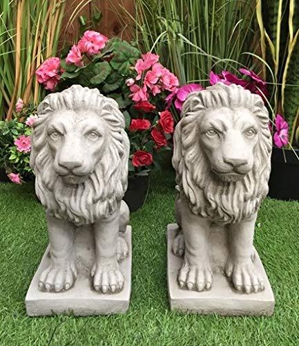 Pair of Bavarian Lion Garden Statues Concrete Lawn Ornaments Pillar Tops by DGS